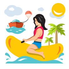 Vector Girl Ride A Banana Boat...