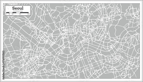 Photo Seoul Map in Retro Style. Hand Drawn.