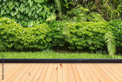 Poster Jardin Wood flooring in a green plant garden decorative