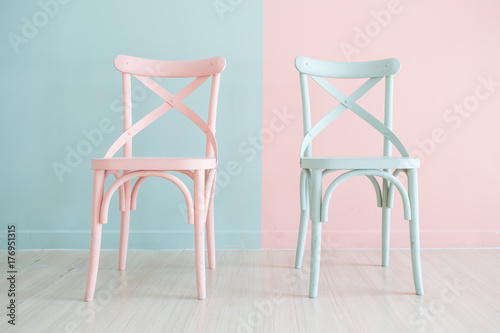 Fototapeta Vintage wooden chair Painted Two Tone