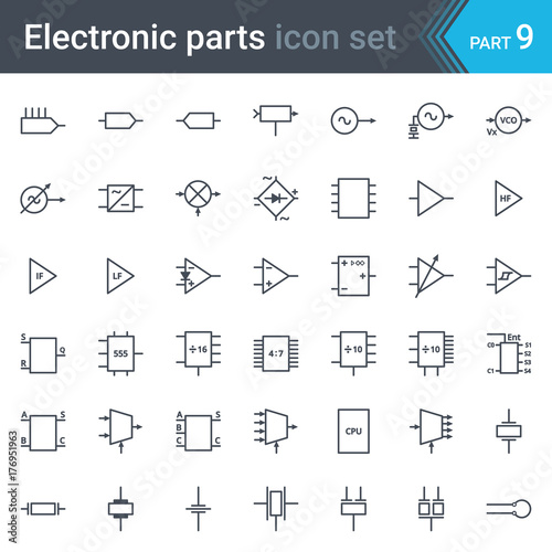 complete vector set of electric and electronic circuit diagram rh stock adobe com Basic Electrical Schematic Diagrams Schematic Wiring Diagram