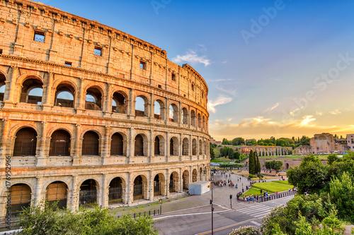 Zdjęcie XXL Rzym słońca panoramę miasta w Rzymie Koloseum (Roma Coliseum), Rzym, Włochy