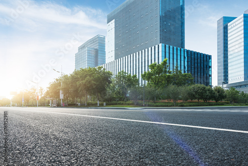 obraz PCV empty road with modern buildings on background,shanghai,china.