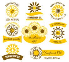 Sunflower Oil Logo Set. Vector...