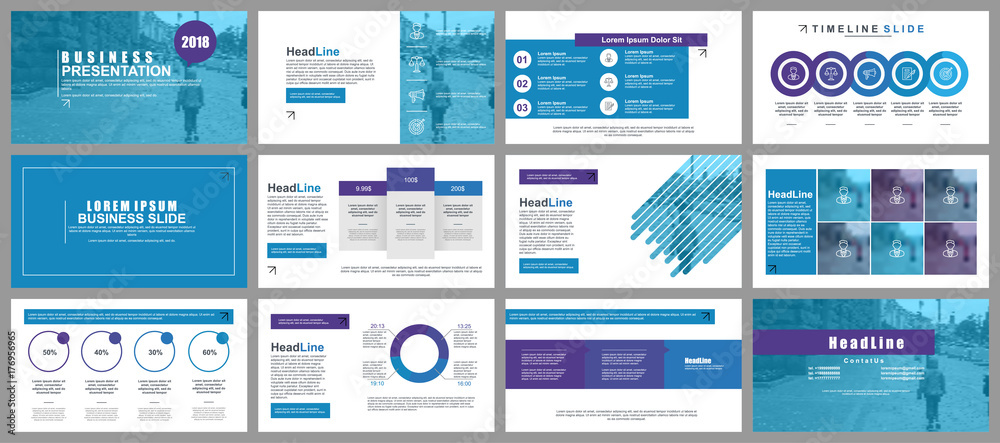 Fototapety, obrazy: Blue business presentation slides templates from infographic elements. Can be used for presentation, flyer and leaflet, brochure, corporate report, marketing, advertising, annual report, banner.
