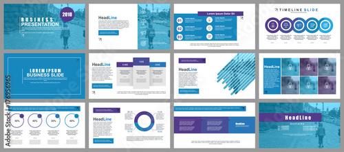 Fotografie, Obraz  Blue business presentation slides templates from infographic elements