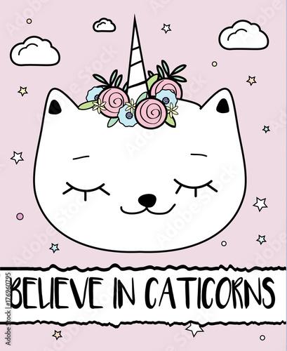 Doodle Cat With Unicorn Horn Caticorn Modern Postcard Print Design Template Inspirational Greeting Card