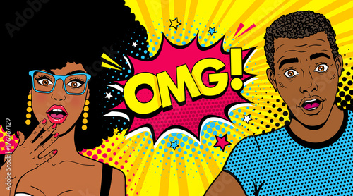 Fototapeta Wow afro american couple. Handsome young surprised man and sexy woman in glasses with open mouths and speech bubble with OMG! text. Vector colorful cartoon background in pop art comic retro style. obraz
