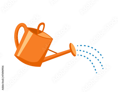Fotografia Orange plastic watering can with water