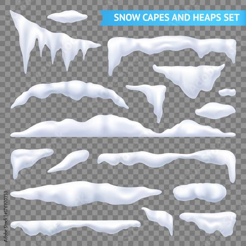 Fotografie, Obraz  Snow Capes And Piles Transparent Set