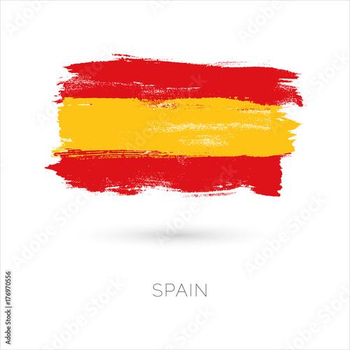 Plakat Hiszpania kolorowe pociągnięcia pędzlem malowane ikona flagi narodowej kraju. Malowana tekstura.