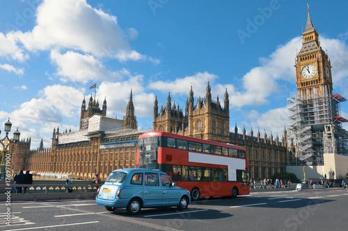 Plakat Big Ben widok z transportowym symbolem Londyński miasto