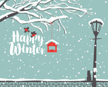 Vector Winter Scene At The Snow-covered Park With Calligraphic Inscription Happy Winter, With Branches Of A Tree, Bullfinches And A Bird Feeder, A Street Lamp And A Cat On The Fence In The Snow