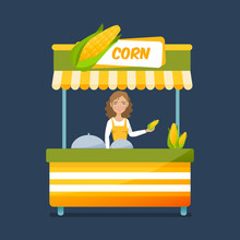 Seller Boiled Corn Behind Coun...