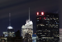 Night View Of Manhattan And The Buildings
