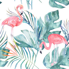 Fototapeta Tropical seamless pattern with flamingo and leaves. Watercolor summer print. Exotic hand drawn illustration