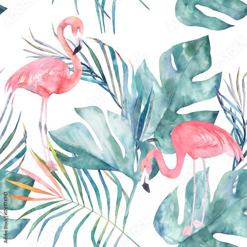 Tropikalny wzór z flamingo i liści. Letni wydruk w akwarela. Egzotyczna ręka rysująca ilustracja