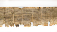 One Of Dead Sea Scrolls, Displayed In Shrine Of The Book. Israel Museum, Jerusalem. Israel.
