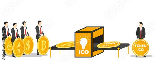 Fotografía  ICO token exchange concept vector illustration