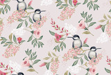 Vector illustration of a seamless floral pattern with cute birds in spring for Wedding, anniversary, birthday and party. Design for banner, poster, card, invitation and scrapbook  - 176985983