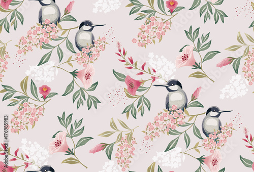 Leinwand Poster Vector illustration of a seamless floral pattern with cute birds in spring for Wedding, anniversary, birthday and party