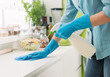canvas print picture - Woman cleaning with a spray detergent