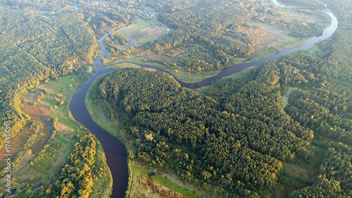 Poster Kaki Aerial wiev of natural river