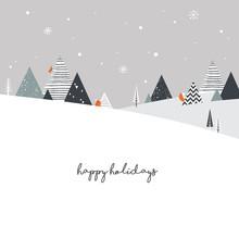 Christmas Winter Landscape Bac...