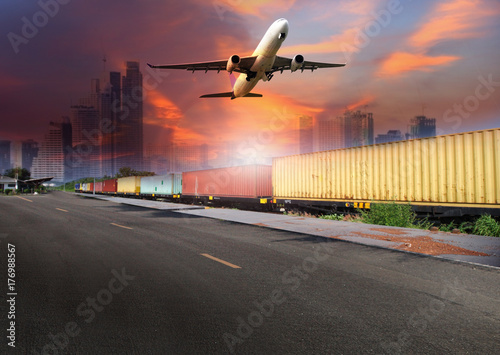 Fototapety, obrazy: airplane flying over the train , transportation concept