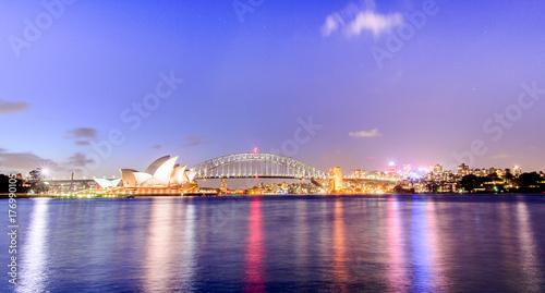 Staande foto Sydney Night Sydney Opera House with Harbour Bridge