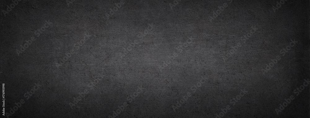 Fototapety, obrazy: Black chalkboard. Dark concrete background. Black stone banner