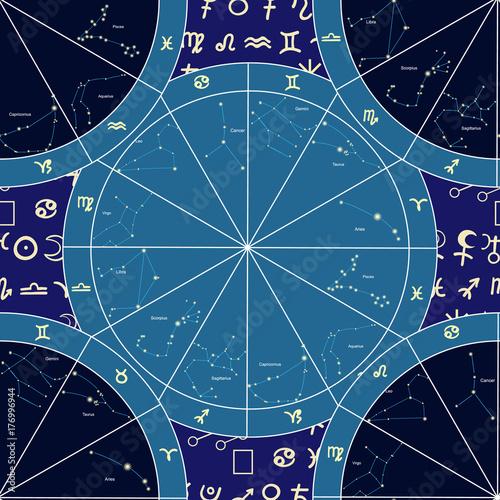 Zdjęcie XXL znaki zodiaku konstelacji ilustracji wektorowych bez szwu wzór