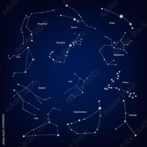 Zdjęcie XXL znaki zodiaku konstelacji horoskop astrologii. ilustracji wektorowych