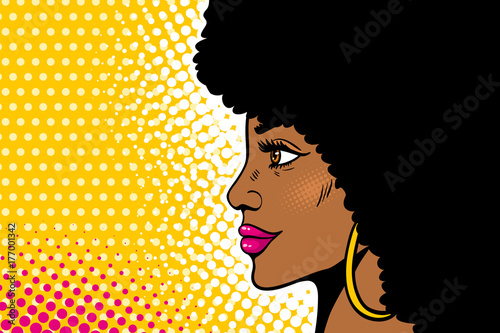 African American Pop Art Female Face Sexy Young Black Woman