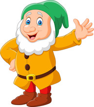 Happy Cartoon Dwarf Isolated O...