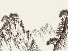 Mountain Cliffs Hand Drawing
