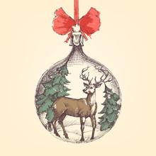 Vintage Christmas Ball, Deer A...