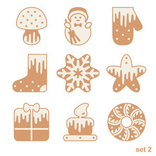 Set Of Christmas Gingerbread W...