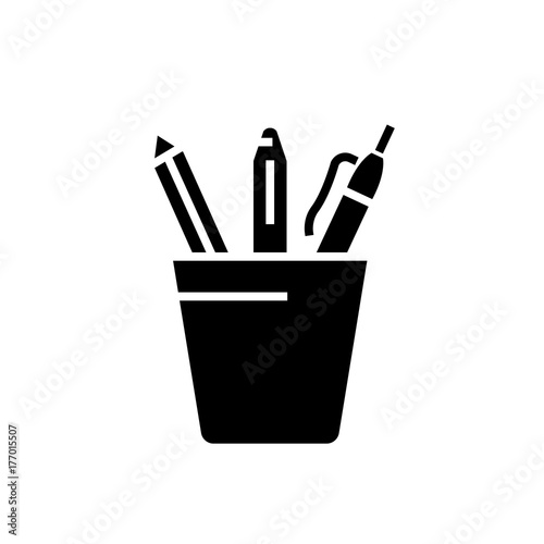 Fotografie, Obraz  Pencil holder icon, illustration, vector sign on isolated background