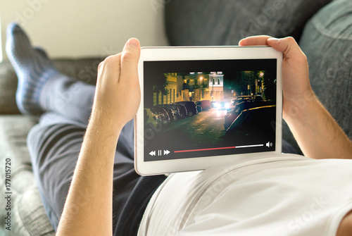 Photo  Online movie stream with mobile device