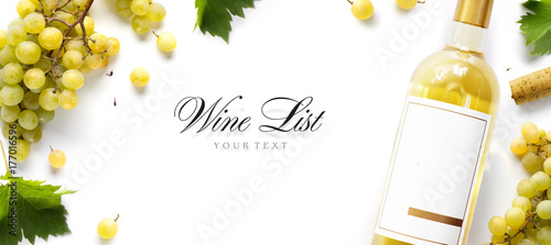 Staande foto Wijn wine list background; sweet white grapes and wine bottle