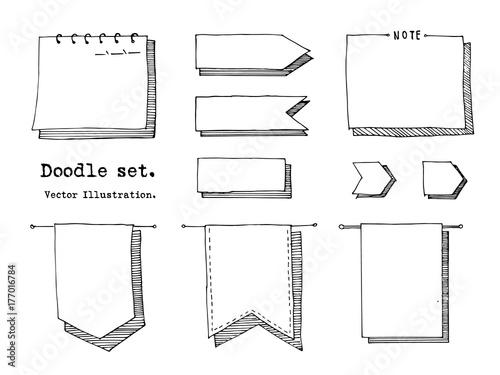 Fotografía  Hand drawn cartoon vector set of paper sheet, tag, sticky note