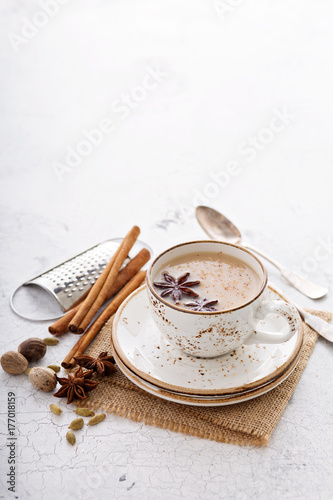 Fotografie, Obraz  Warm chai tea with winter spices