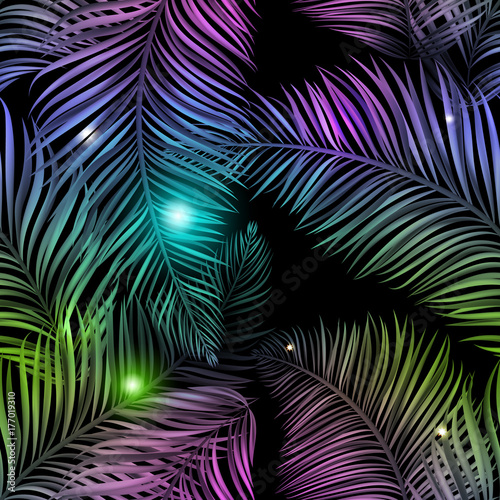 Türaufkleber Künstlich Neon jungle, electric tropical glitch summer seamless pattern. Beautiful, realistic palm leaves with neon glow, purple and blue color with shiny stars, sparkles and glow