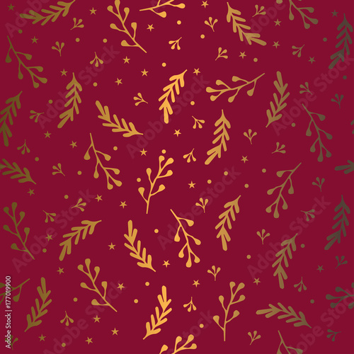 1ec613baa Cotton fabric Seamless festive pattern. Vector ornament. Gold branch on a  red background.