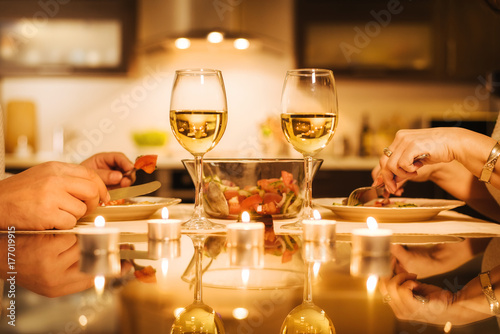 Cuadros en Lienzo Young couple have romantic dinner with wine. Romantic concept .