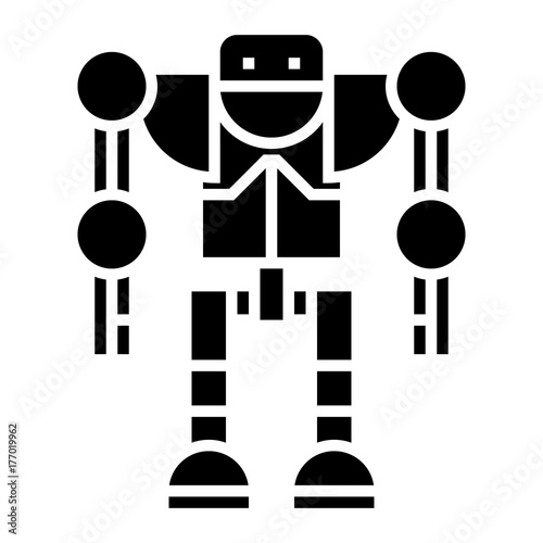 Fotografie, Obraz  robot - droid icon, illustration, vector sign on isolated background