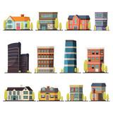 Fototapeta Miasto - Living Buildings Orthogonal Set