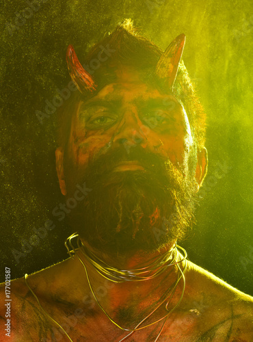 Halloween devil with bloody horns on head Canvas Print