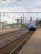French high speed train arrives at the station